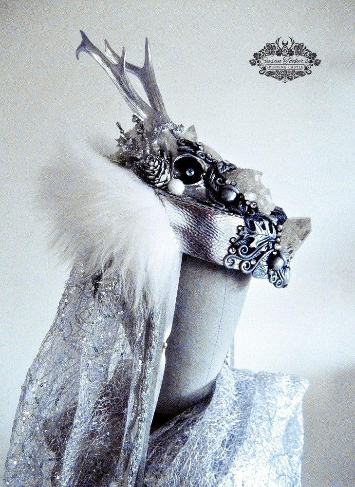 Image of SKADI - Winter Goddess Snow Queen Antler Headdress Woodland Fantasy Crown