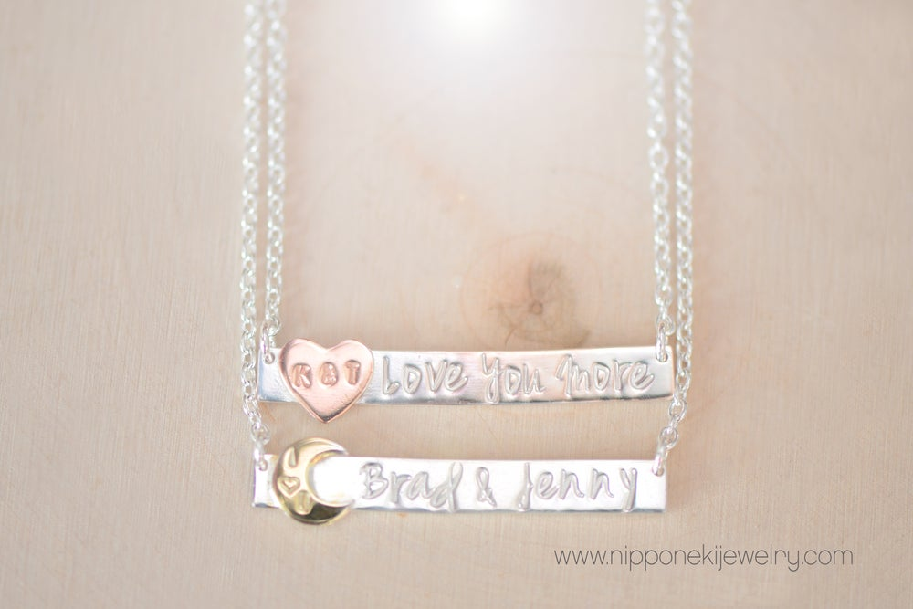 Image of Personalized Sterling Silver Bar Necklace - Bar Tag Necklace - Rectangle Nameplate Necklace