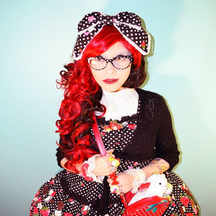 Image of Queen Of Hearts, Red Black Split Curls Waves Gothic Lolita Cosplay Wig