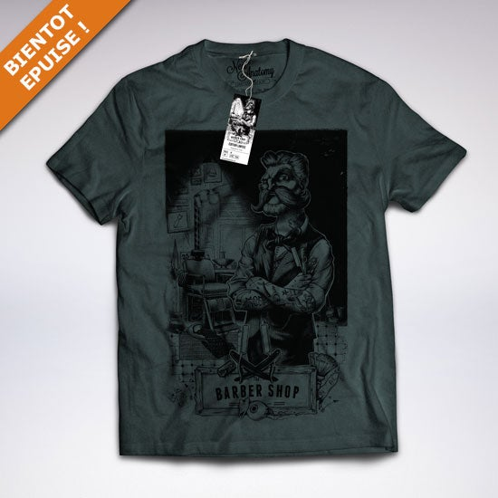"Image of ""The barber shop"" dark heather grey t-shirt"