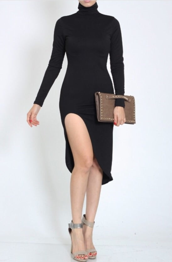 Image of Turtle neck Asymmetrical dress
