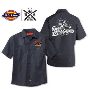 Image of GRAVE BEFORE SHAVE B.M.C Official Member Dickies shirt