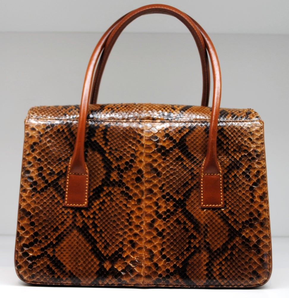 Image of Lambertson Truex Snakeskin Box Car Handbag
