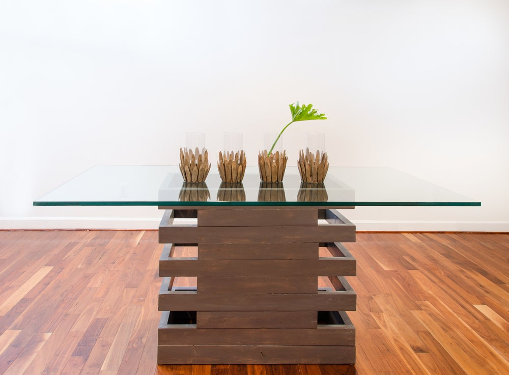 Image of 6 foot Scala table with glass top