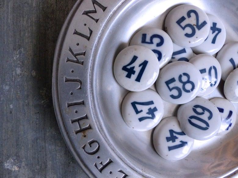 Image of Cabochons numérotés en porcelaine