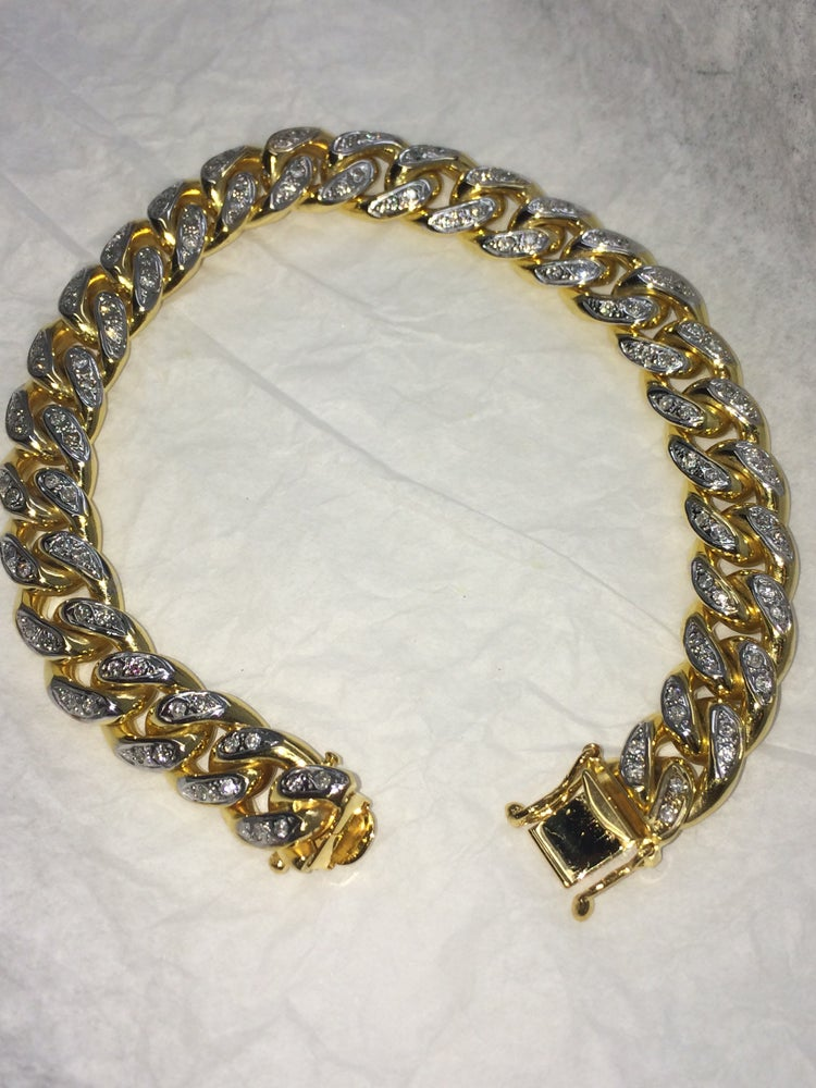 Image of 10kt Diamond Miami Cuban Bracelet