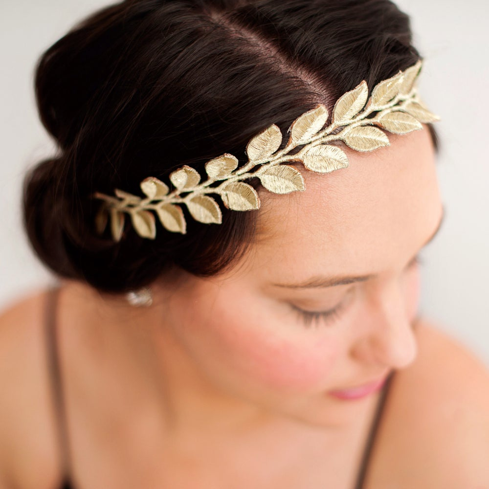 Image of The Laurel Lace Gold Leaf Headband Adult