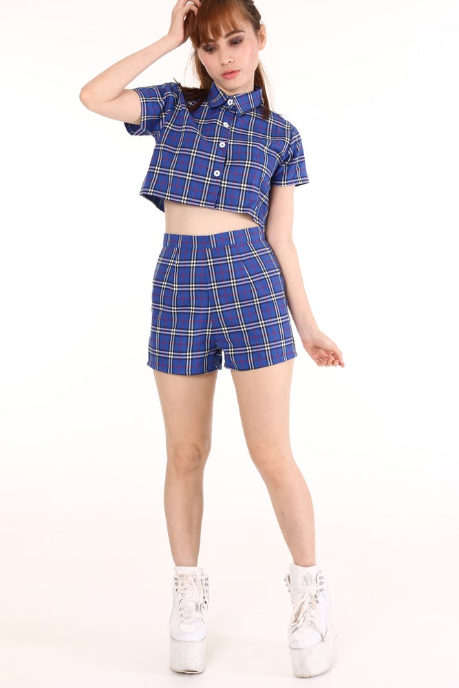 Image of Made To Order - Katie Tartan Top & Shorts Set In Blue