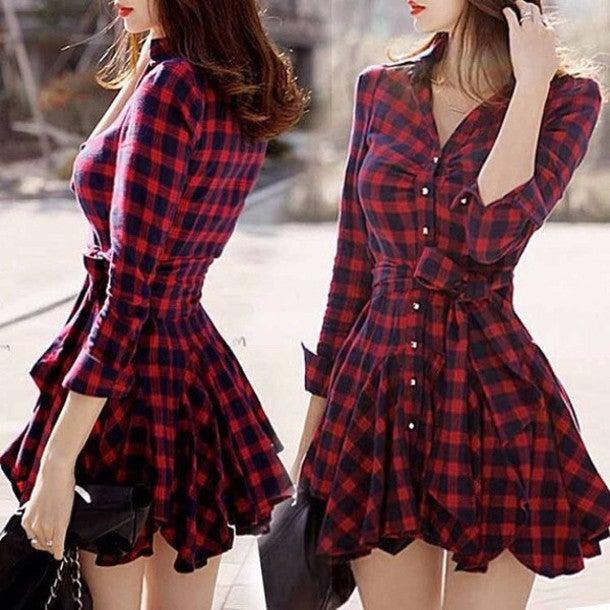 Image of Cute grain v collar long sleeve hot dress