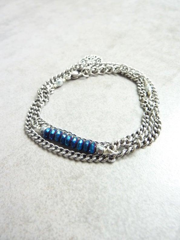 Image of Bracelet fin 3 tours BOREAL BLUE -50%