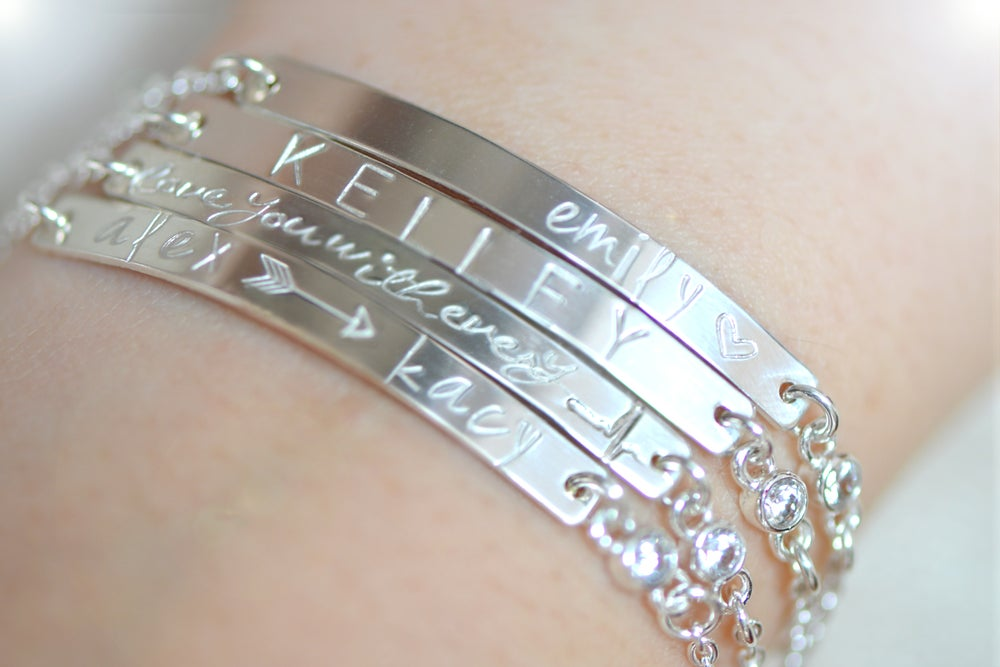 Image of Personalized Skinny Bar CZ Bracelet - Customized Name Plate Bracelet - Silver or Gold Bracelet