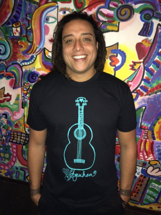 Image of 'Ukulele Tee - Teal on Black (Unisex)