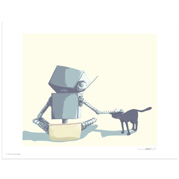 Pet the Cat Print - Robot Art by Matt Q. Spangler