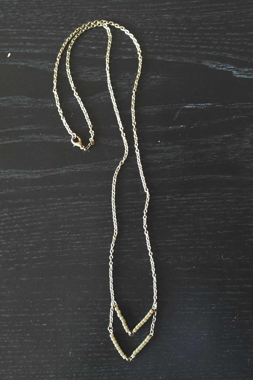 Image of Antique Brass Chevron Necklace