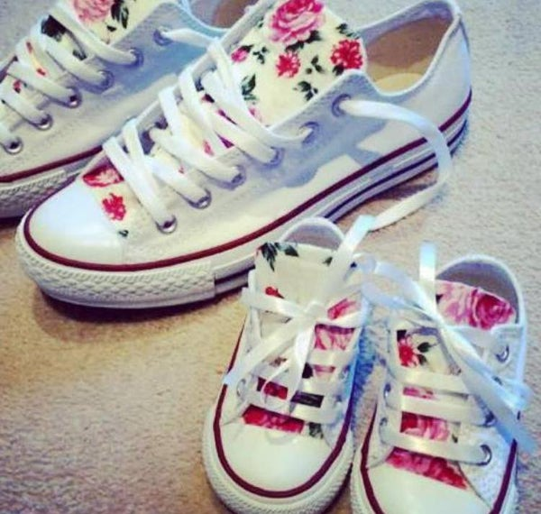 Image of Mother & Baby Matching Floral Converse Set