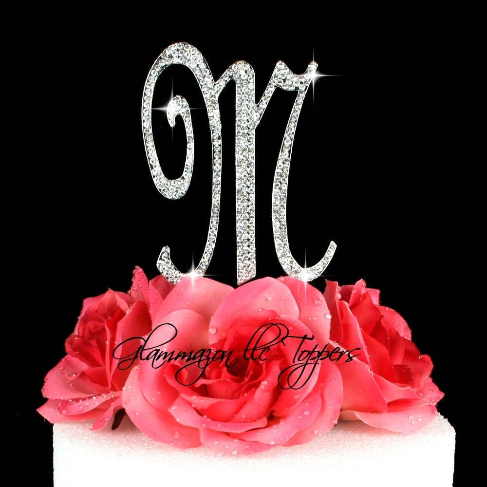 Letter M initial cake topper Rhinestone bling vintage font ...