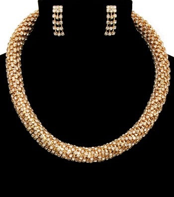 Image of Crystal Gold Choker Necklace Set