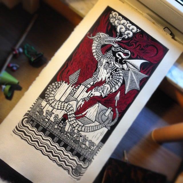 Image of Smaug's fury (b/w & color)