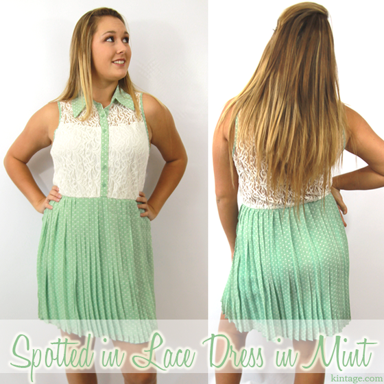 Image of Spotted in Lace Mint Dress (only 1 medium left!)