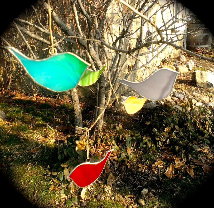 Image of Happy Birds Grouping-stained glass