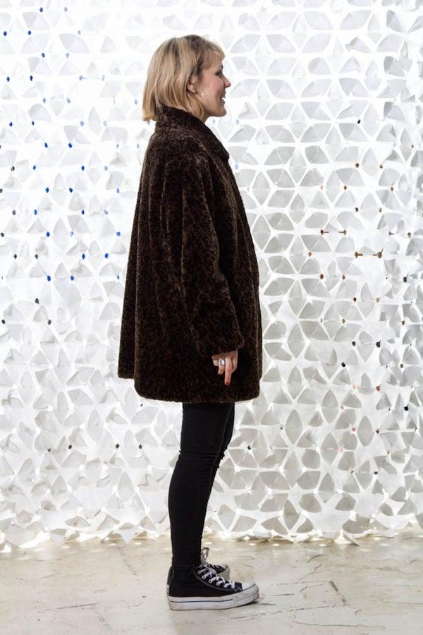 Image of Vintage Faux fur leo coat
