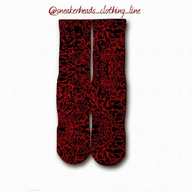 "Image of Exclusive ""Elephant Print/Cement"" Custom Socks (Red)"
