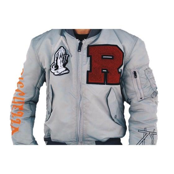 """Image of """"R"""" 4 RICCHEZZA™ Flight Jacket (Grey/Orange)"""