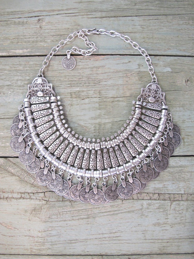 Image of Turkish Statement Necklace with coins Small