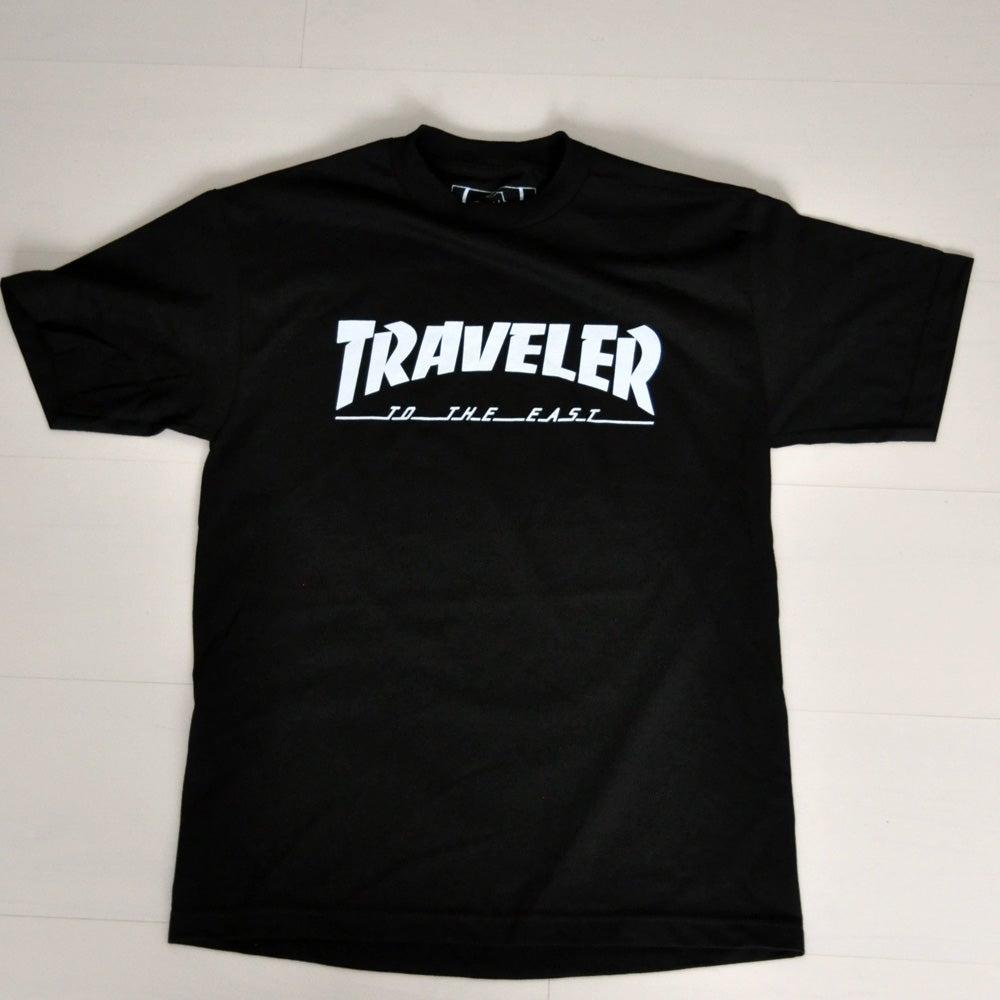 Black t shirt front - Image Of The Traveler Black