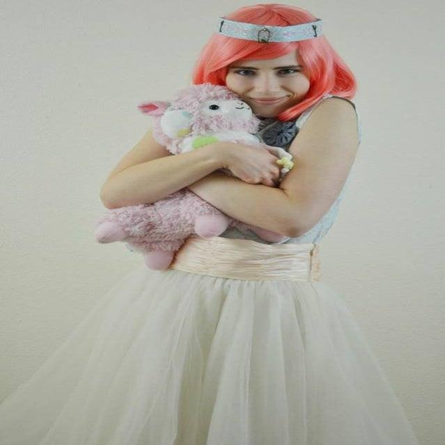 Image of Mandarin, Red Pink Wavy Short Bob Gothic Lolita Cosplay Wig