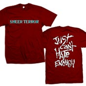 "Image of SHEER TERROR ""Just Can't Hate Enough Album Art"" Maroon T-Shirt"