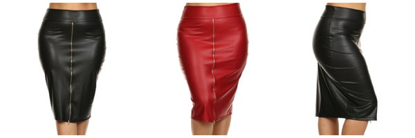 Image of Sexy Faux Leather Zip-Front Pencil Skirt