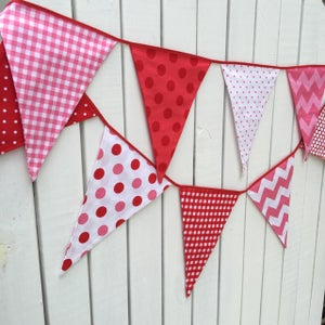 Image of Red and Pink Party  Bunting/Flags