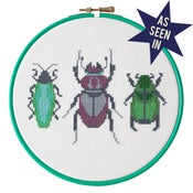 Image of Emerald Beetle Trio cross-stitch PDF pattern