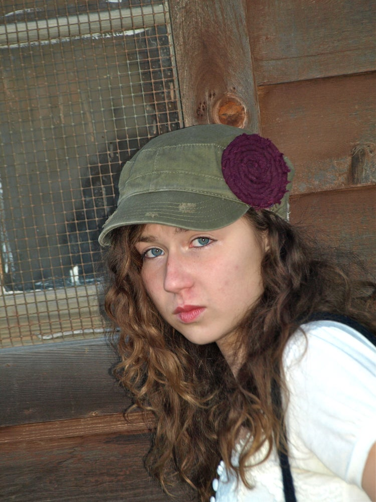 Image of Olive hat with Purple Flower