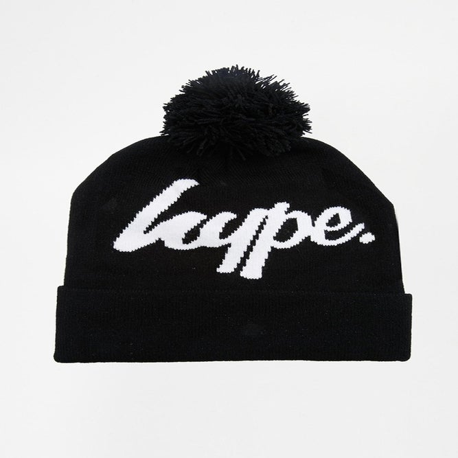 Image of HYPE. BLACK JAQUARD SCRIPT BEANIE