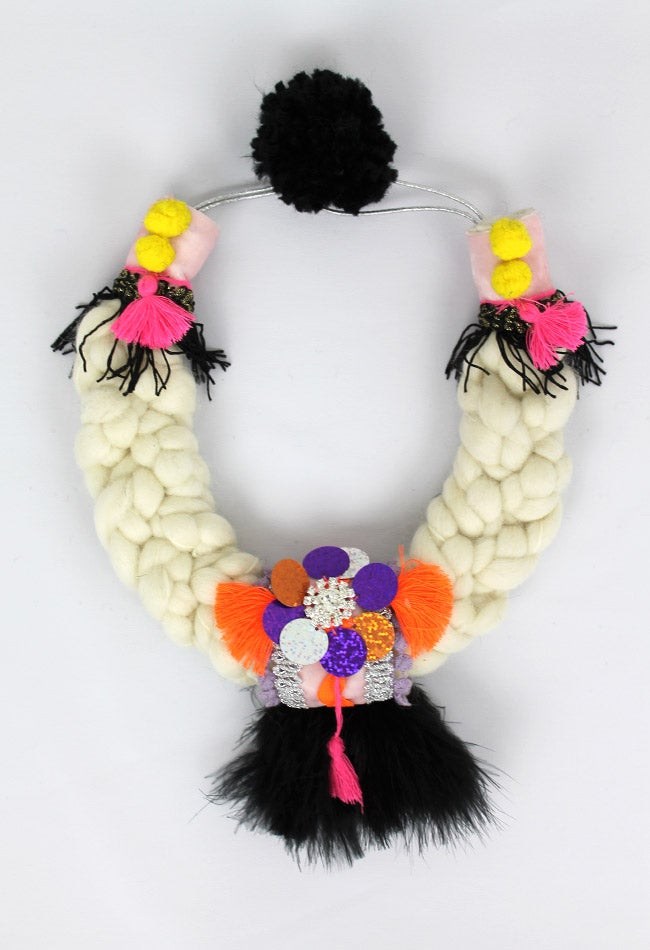 Image of WOOL + BLACK FEATHERS COLLAR
