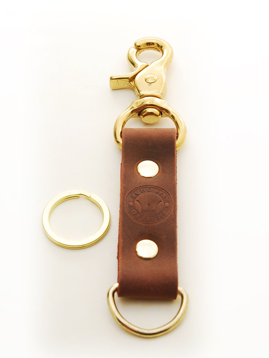 Image of Brass Stoned Oil Leather Belt Clip Keychain