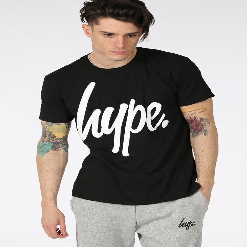Image of HYPE. WHITE SCRIPT BLACK TEE