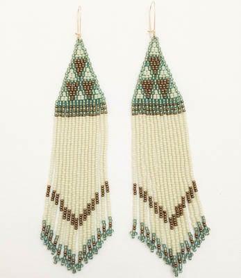 "Image of ""Nine Triangle"" Woven Bead Earrings: Green+Cream+Bronze"