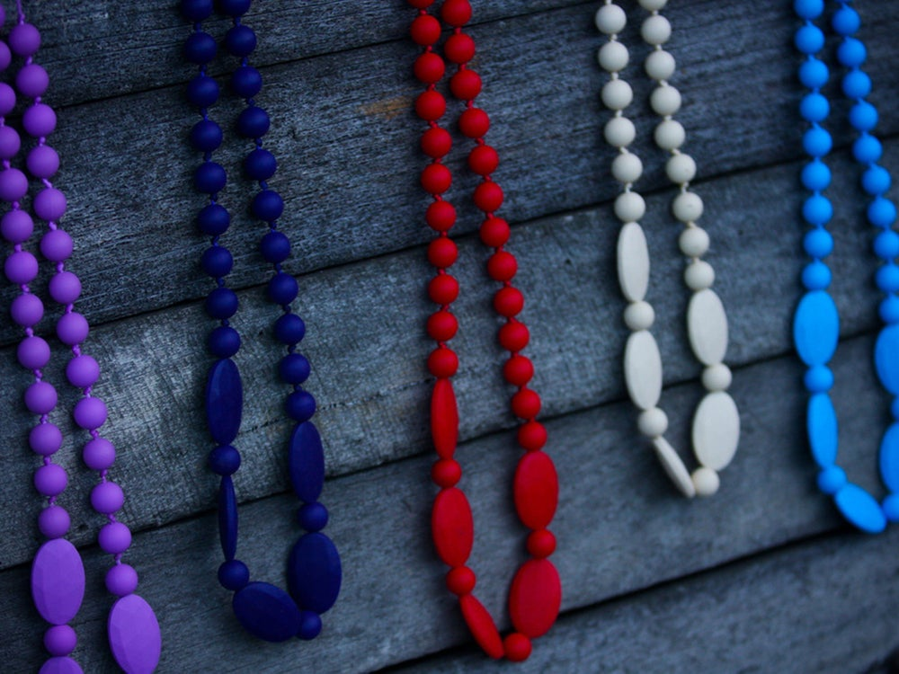 Image of Belle & Bambino Silicone Necklace - Round and Flat Oval Bead