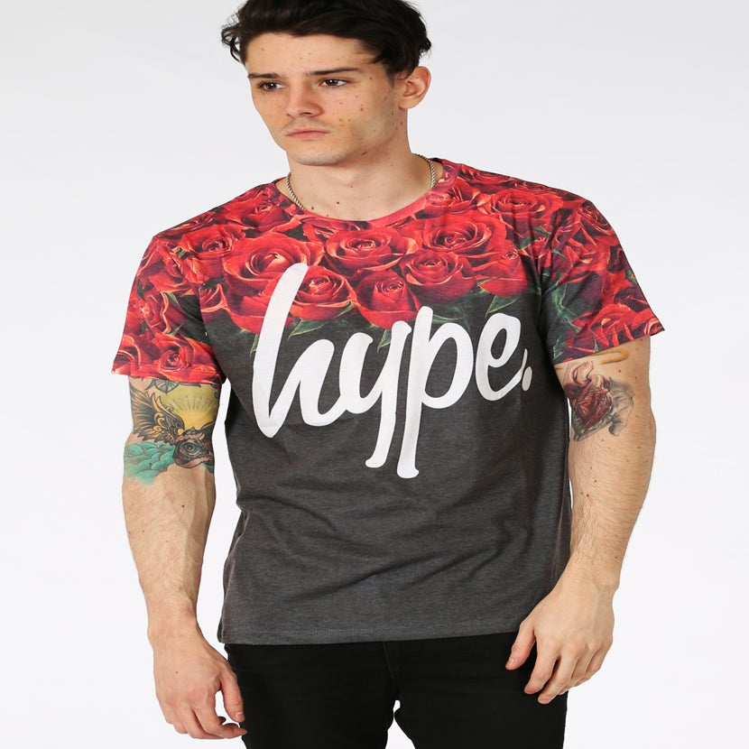 Image of HYPE. ROSES NECK BLACK TEE