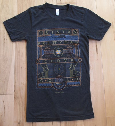 Image of Cedar + Gold Hieroglyphics Tee  - Charcoal Grey