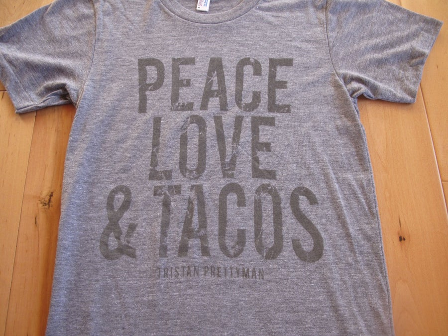 Image of Peace Love & Tacos Tee - Heather Grey