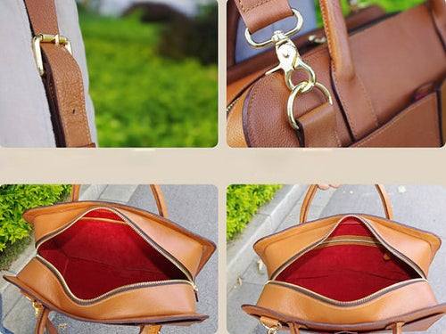 Image of Custom Handmade Tan Brown Leather Briefcase, Messenger Shoulder Bag Men's Handbag D018