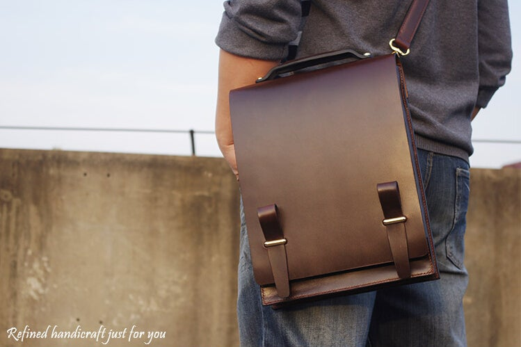 Image of Custom Handmade Leather Briefcase, Messenger Bag Men's Handbag MS04