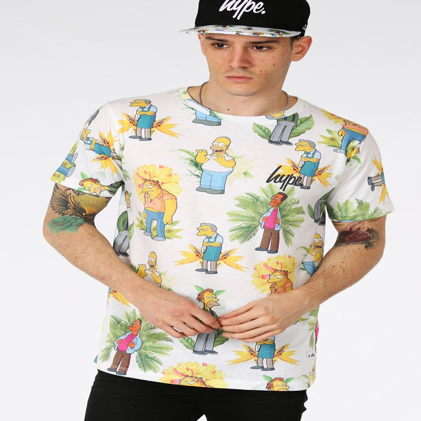Image of HYPE X SIMPSONS. BAR BOYS FLORAL TSHIRT