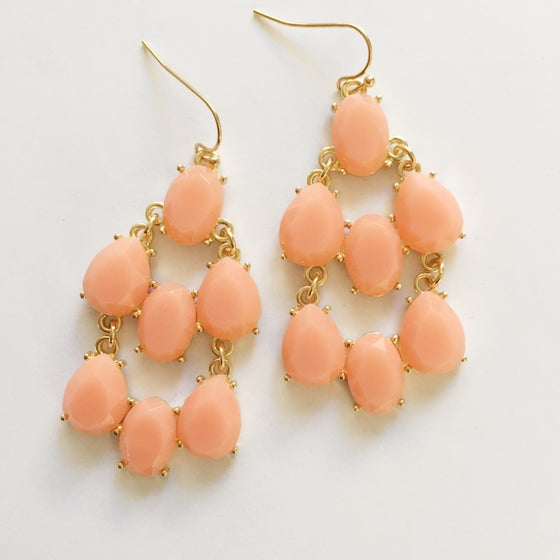 Image of Cheri Chandelier Earrings in Peach