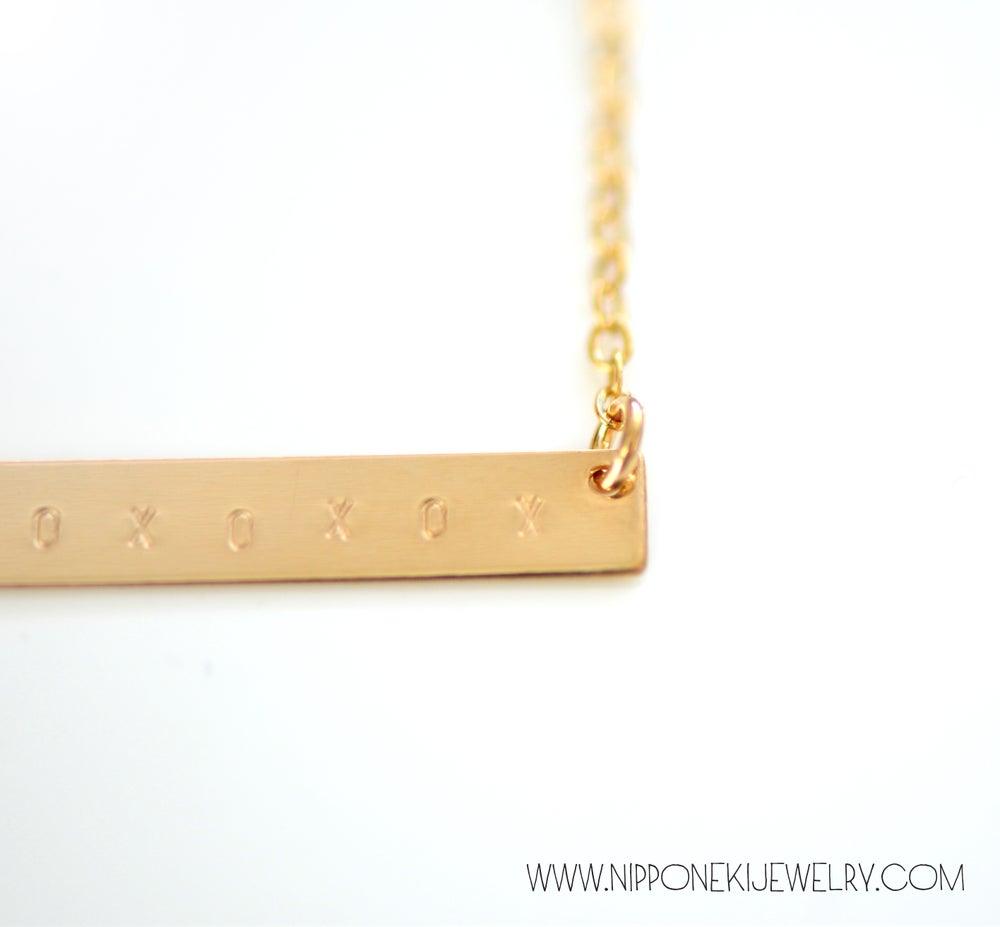 Image of XOXOXOXO Gold Bar Necklace - Minimal Jewelry - Valentine's Day Special!!
