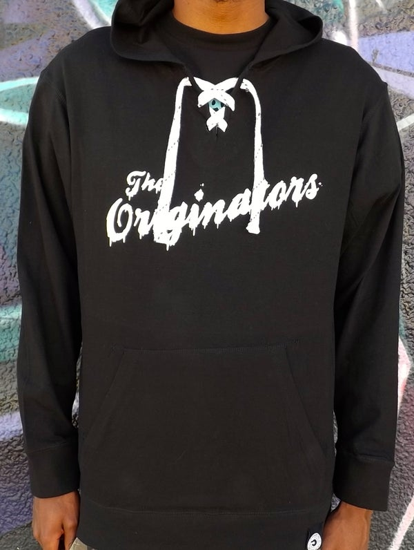 Image of DRIP SCRIPT LACE PULLOVER HOODIE (BLACK)